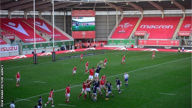 Wales in action against Scotland