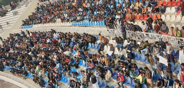 Fans inside the Rawalpindi Cricket Stadium