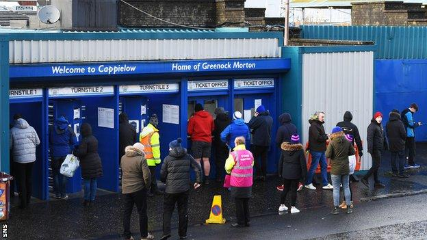 Supporters entering Cappielow in February