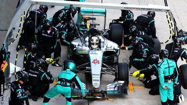 Lewis Hamilton at a pit stop