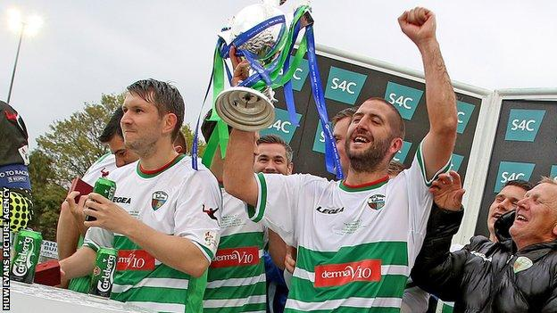 New Saints players celebrate winning the 2016 Welsh Cup