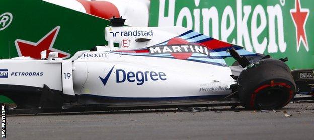 Felipe Massa's car after his crash