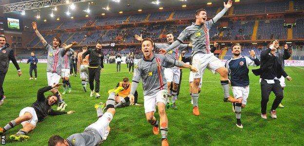 Alessandria players celebrate