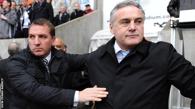 Brendan Rodgers and former Cardiff boss Dave Jones