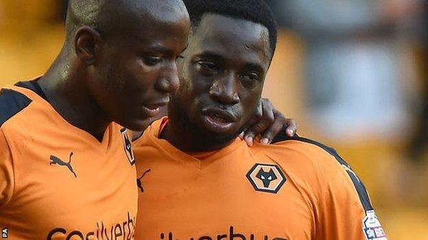 Nouha Dicko is congratulated by Benik Afobe after scoring in the 2-1 League Cup win over Newport County