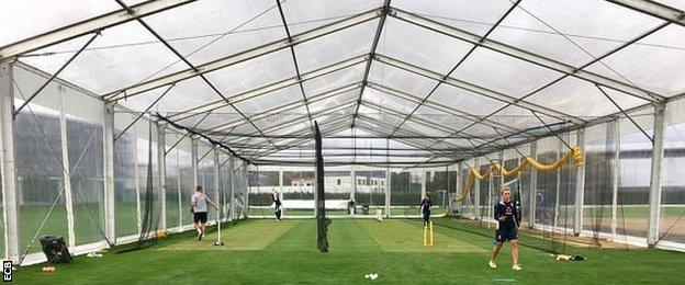 England players practise under the Great British Bake Off tent