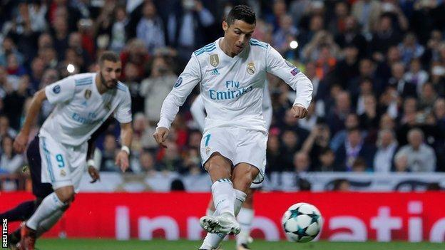 Cristiano Ronaldo scores the equaliser for Real Madrid