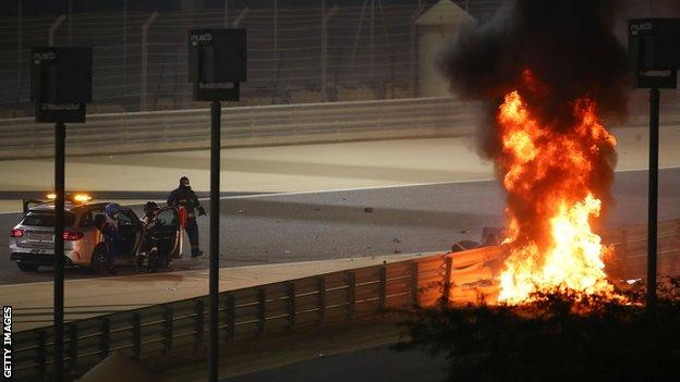 The fall of the Romain Grosjean accident in Bahrain