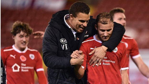 Barnsley manager Valerien Ismael talks with Herbie Kane after the team's 2-0 win over Nottingham Forest in the Championship