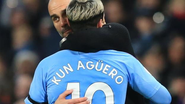 Hasil gambar untuk Sergio Aguero: Manchester City forward is a 'legend' says Pep Guardiola