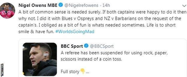 Nigel Owens' tweet