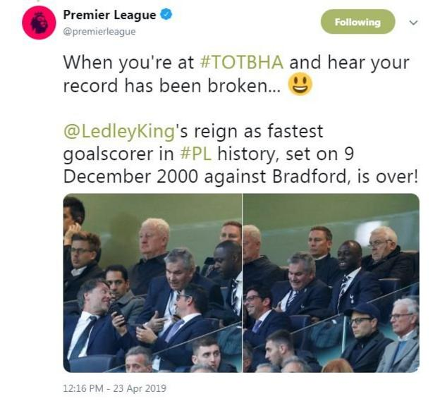 Premier League tweet about Ledley King being told his record has been broken