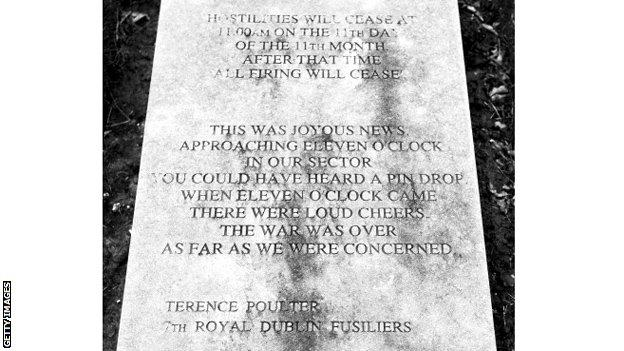 Engraved memorial remembering Armistice Day 1918. Words by Terence Poulter of the Royal Dublin Fusiliers, the regiment William Manning served in