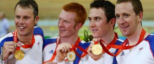 Paul Manning, Ed Clancy, Geraint Thomas and Bradley Wiggins won gold at the 2008 Olympics
