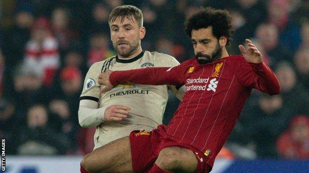 Luke Shaw (left) and Mohamed Salah