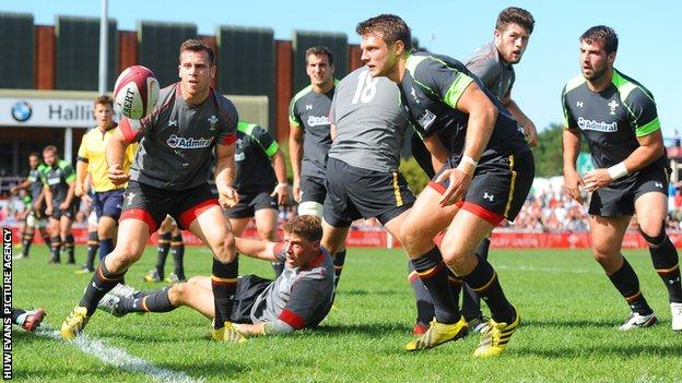 Wales players take part in an intra-squad match in front of around 5,000 fans in Colwyn Bay