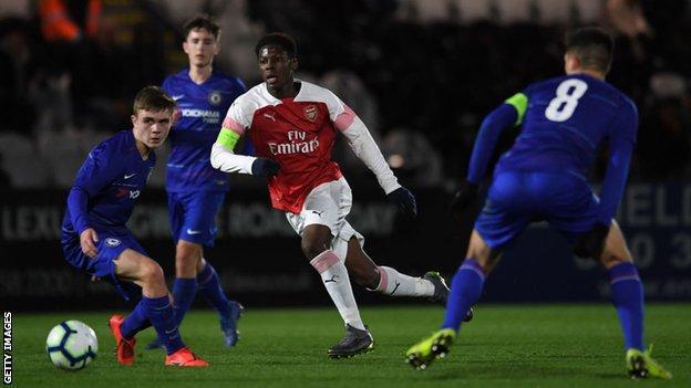 Yunus Musah in action during his Arsenal days