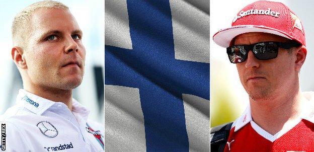 Valtteri Bottas, flag of Finland, Kimi Raikkonen