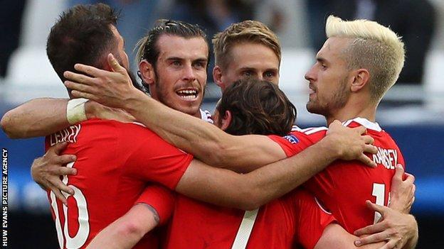 Wales celebrate beating Slovakia