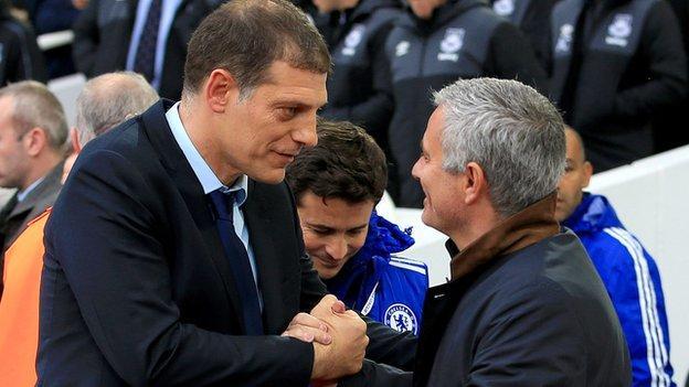 Slaven Bilic (left) and Jose Mourinho