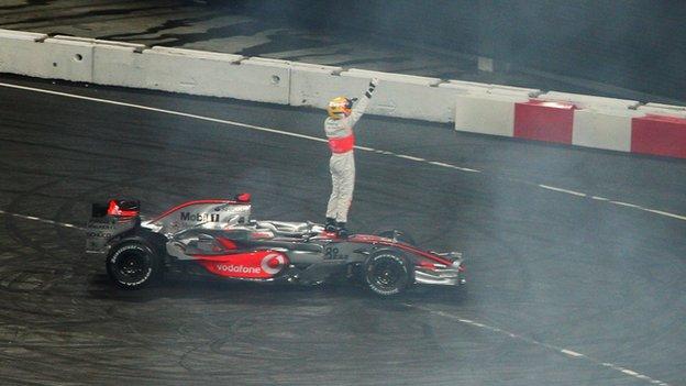 Lewis Hamilton celebrates his first ever World Driver Championship