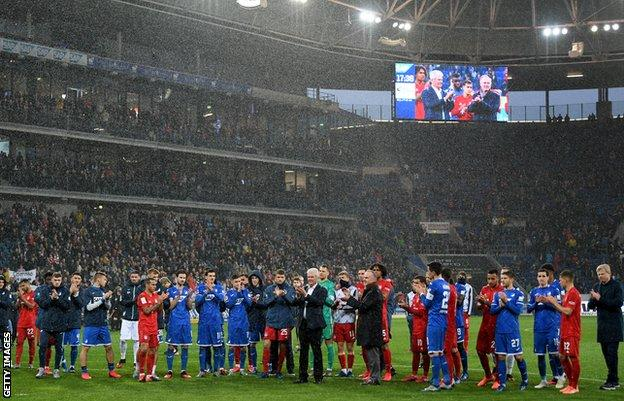 Hoffenheim and Bayern players on the pitch