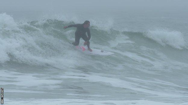Luke Dillon practises for the world championships in Newquay