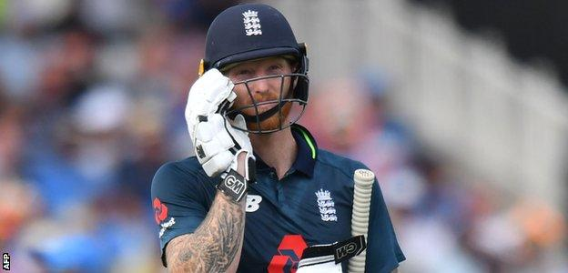 Ben Stokes walks off after being dismissed