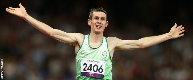 Michael McKillop celebrates his T37 1500m triumph at London 2012