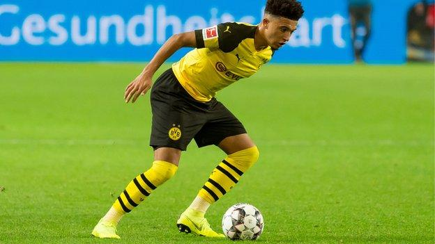 Jadan Sancho in action for Borussia Dortmund