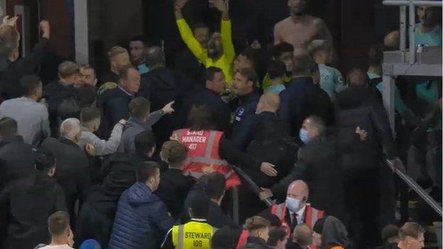 Brighton players and Palace fans coming together at the end