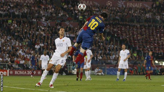 Lionel Messi scores against Manchester United in the 2009 Champions League final