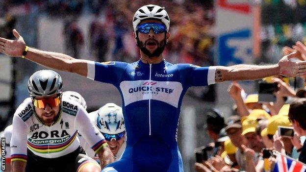 Fernando Gaviria celebrates winning stage one of the 2018 Tour de France