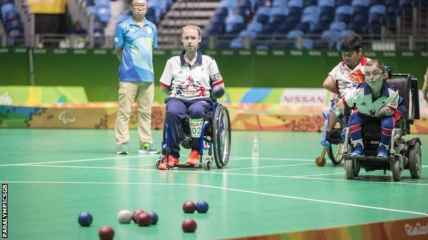 GB's Stephen McGuire and Evie Edwards in action in Rio