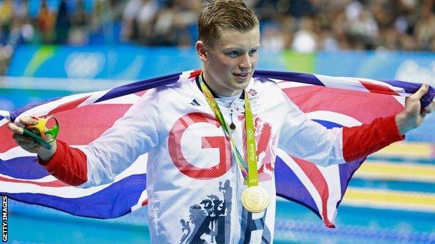 Rio 2016 British champion swimmer Adam Peaty