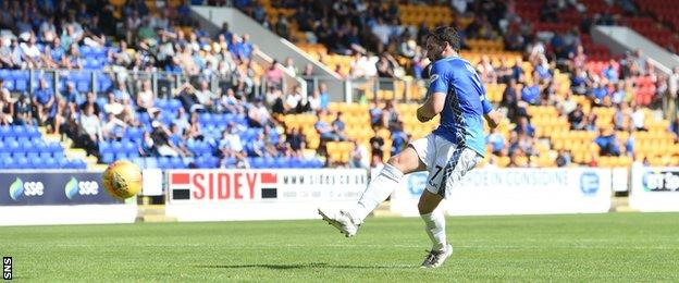 Drey Wright scores a penalty for St Johnstone against East Fife
