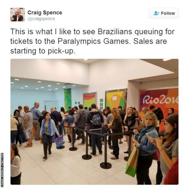 Tweet by Craig Spence, director of communications for the IPC, showing a queue for Paralympic tickets in Rio