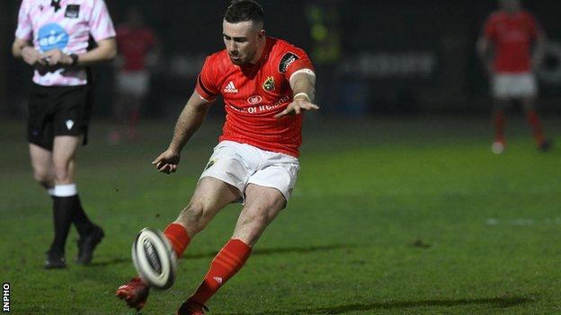 JJ Hanrahan kicks a conversion for Munster against Zebre