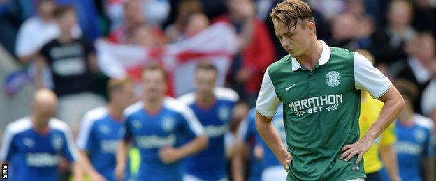 Scott Allan, a target of Rangers, started on the bench for Hibs