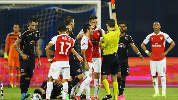 Arsenal striker Olivier Giroud is dismissed against Dinamo Zagreb