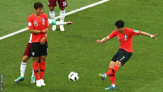 South Korea forward Son Heung-min scores late on against Mexico