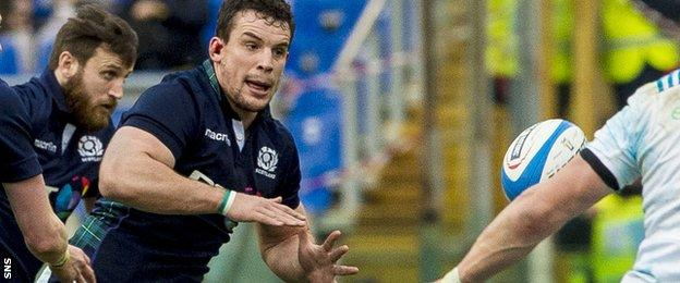 Scotland flanker John Hardie in action against Italy