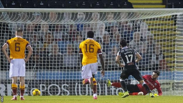 Jamie McGrath scores a penalty for St Mirren against Motherwell