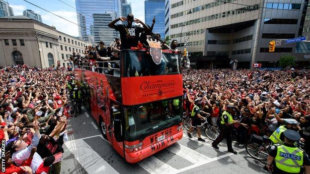 Pascal Siakam and Raptors' victory parade in Toronto