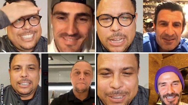 Ronaldo talks to (clockwise from top left): Iker Casillas, Luis Figo, David Beckham and Robert Carlos