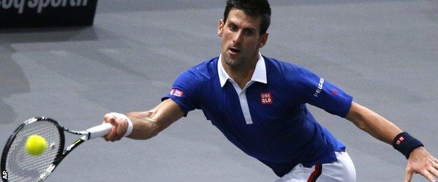 Novak Djokovic in action against Berdych