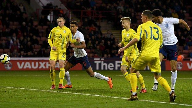 Dominic Solanke scores for England Under-21s against Ukraine