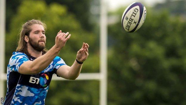 Ben Toolis in training with Scotland
