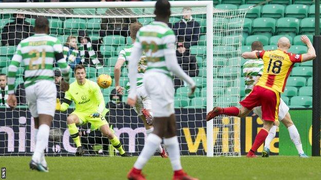 Partick Thistle striker Conor Sammon scores against Celtic