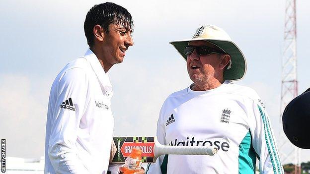 Haseeb Hameed and England coach Trevor Bayliss